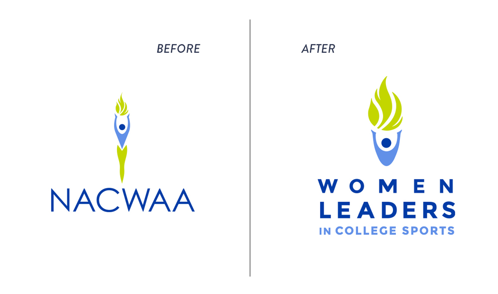 Women Leaders in College Sports before and after logo variation